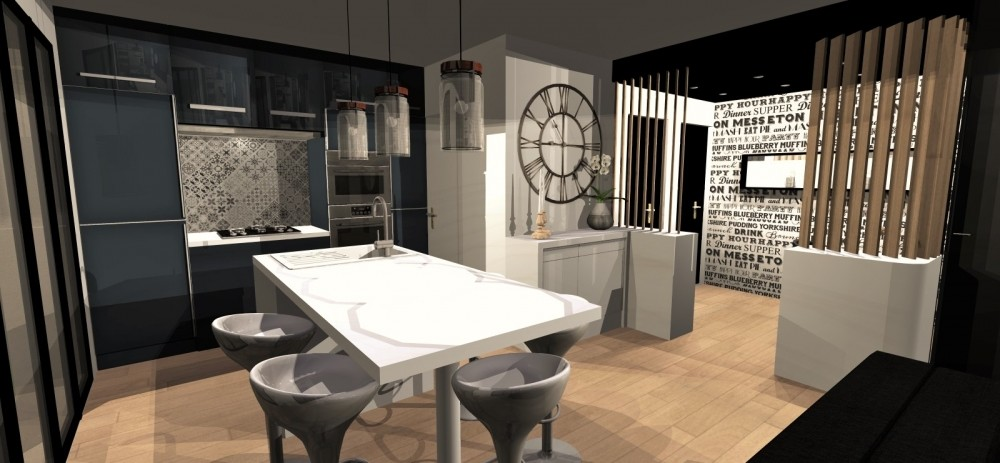 Amenagement et decoration toulouse 004 decoratrice d interieur toulouse helen barbato projet 3D cuisine bureau design carreau de ciment claustra
