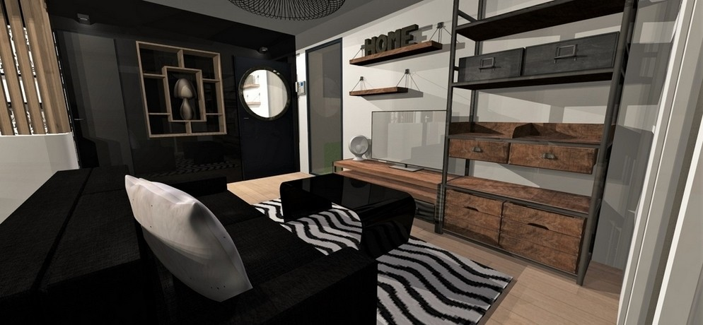 Amenagement et decoration toulouse 005 decorarion interieur atelier helen b projet deco 3D salon entree design industriel noir bois