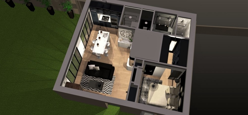 Amenagement et decoration toulouse 010 decoration interieur helen b projet agencement deco 3D transformation garage design industriel atelier noir blanc bois