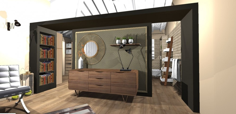 Amenagement et decoration toulouse 007 atelier helen b decorateur architecte interieur haut de gamme boheme chic projet 3d decoration vintage design suite chambreJPG