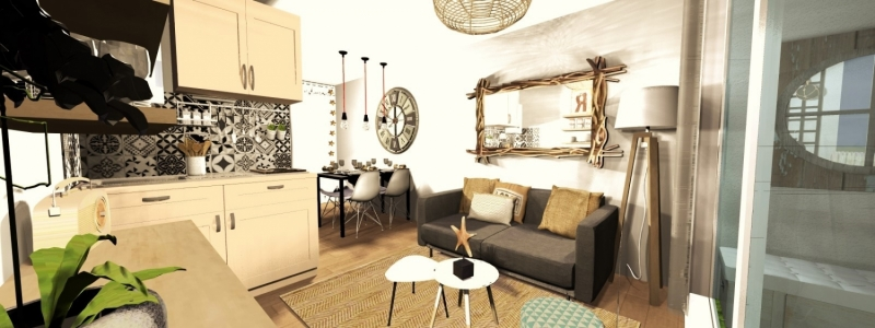 Réalisations -  HOME STAGING Virtuel d'un studio mis en vente au Cap - Decoration interieur toulouse